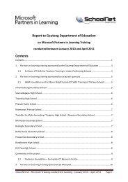 Report on training in Gauteng - SchoolNet South Africa