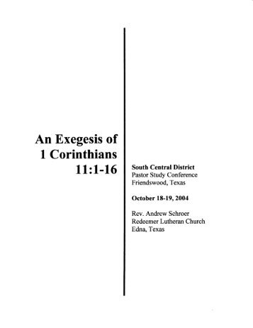 An Exegesis of I Corinthians - The South Central District