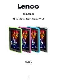 COOLTAB-70 18 cm Internet Tablet Android ™ 4.0 Käsikirja - Lenco