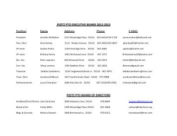 PIZITZ PTO EXECUTIVE BOARD 2012-2013 list - Vestavia Hills City ...