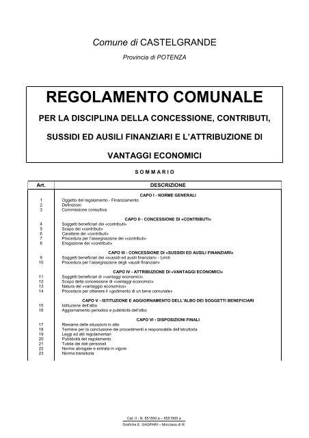 regolamento concessione contributi - Comune di CASTELGRANDE