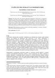 využívání crm aplikací na evropském trhu - Slezská univerzita v Opavě
