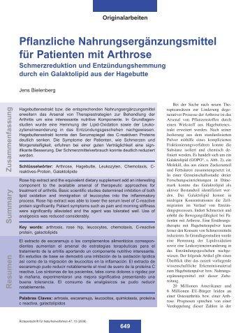 Pflanzliche Nahrungsergänzungsmittel für Patienten mit Arthrose