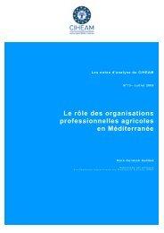 Le rôle des organisations professionnelles agricoles en Méditerranée