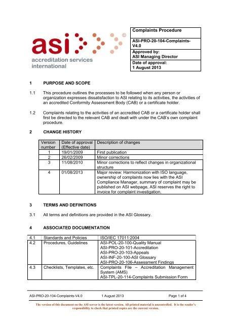 Complaints Procedure - Accreditation Services International