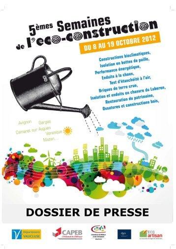 Dossier de Presse - Semaines de l'Eco Construction 2012