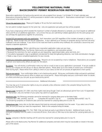 yellowstone national park backcountry permit reservation instructions
