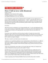 How I fell in love with Montreal - The Globe and Mail - Route Verte