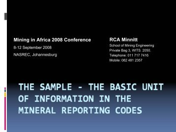 Mining in Africa 2008 The Sample - The Basic Unit of ... - SAMCODE