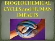 NUTRIENT CYCLES and HUMAN IMPACTS
