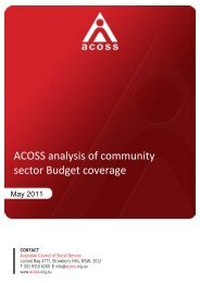 ACOSS analysis of community sector Budget coverage - Australian ...