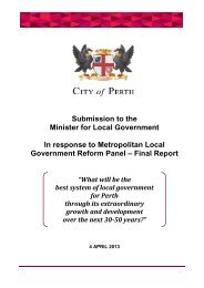 Submission to the Minister for Local Government In ... - City of Perth
