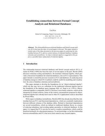 Establishing connections between Formal Concept ... - Uta Priss