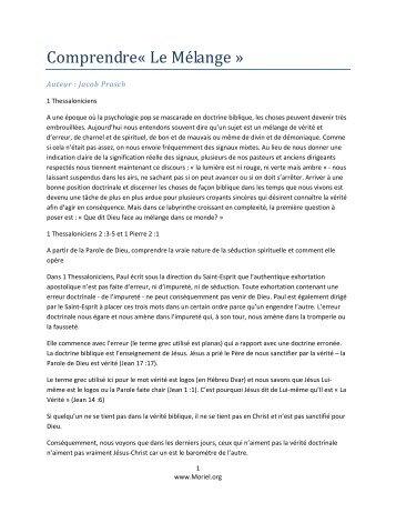Comprendre« Le Mélange » - Moriel Ministries