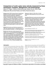Comparison of aortic pulse wave velocity measured by ... - Arteriograf
