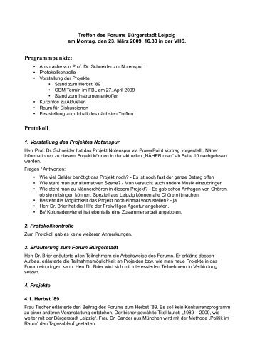 Programmpunkte: Protokoll - Forum Bürgerstadt Leipzig