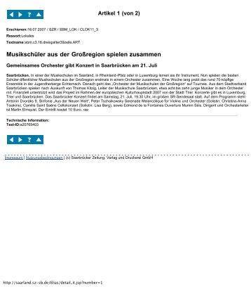 Textarchiv der Saarbrücker Zeitung