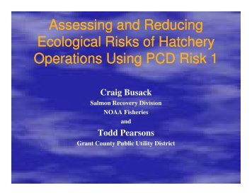 Assessing and Reducing Ecological Risks of Hatchery Operations ...