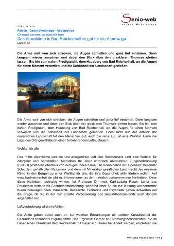 Das Alpenklima in Bad Reichenhall ist gut für die ... - Senio-Web