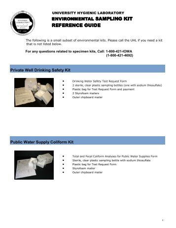 Environmental Sampling Kit Reference Guide - State Hygienic ...