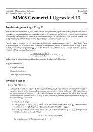 MM08 Geometri I Ugeseddel 10 - Institut for Matematik og Datalogi ...