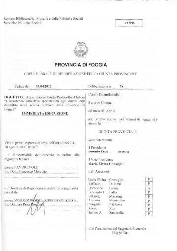 Approvazione bozza Protocollo d'intesa - Provincia di Foggia