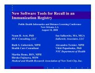 New Software Tools for Recall in an Immunization Registry