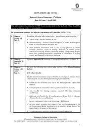 1 April 2011 The following amendments have NOT been