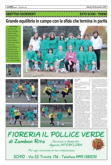 EXTO SCHIO - THIENE - SPORTquotidiano