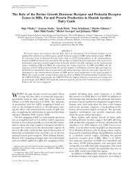 The Role of the Bovine Growth Hormone Receptor and ... - Genetics