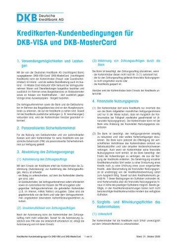 Kreditkarten-Kundenbedingungen für DKB-VISA und DKB-MasterCard