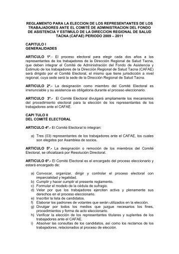 REGLAMENTO CAFAE 2009 - Direccion Regional de Salud Tacna