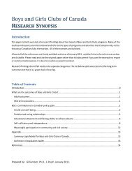 research synopsis - Boys and Girls Clubs of Canada