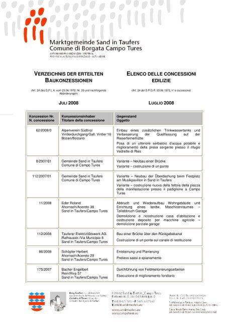 verzeichnis der erteilten baukonzessionen elenco delle concessioni ...