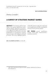 A SURVEY OF STRATEGIC MARKET GAMES - doiSerbia