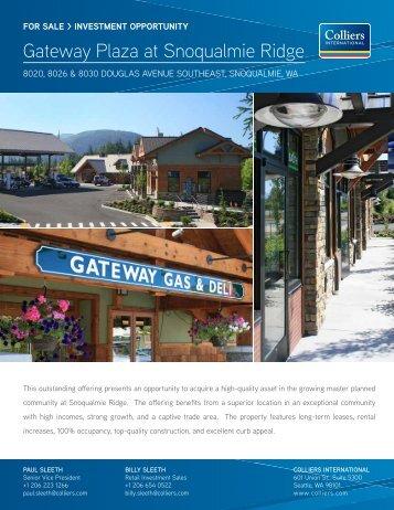 Gateway Plaza at Snoqualmie Ridge Gateway Plaza at Snoqualmie ...