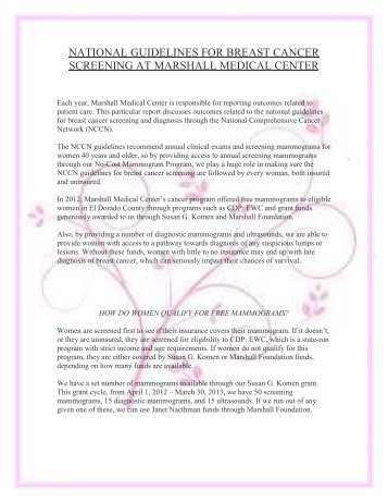 National Guidelines for Breast Cancer Screening at Marshall ...