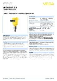 VEGABAR 53 - Pressure transmitter with metallic ... - Insatech