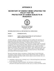 Appendix D - Department of Energy Human Subjects Research ...