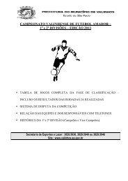Futebol Amador - 2ª Divisão - 2013 - resultados e ... - Valinhos