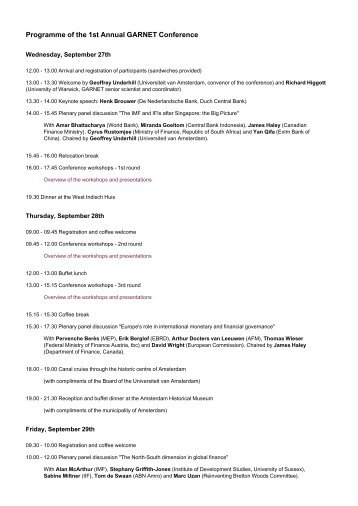 Programme of the 1st Annual GARNET Conference