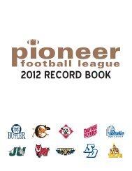 2012 RECORD BOOK - Pioneer Football League