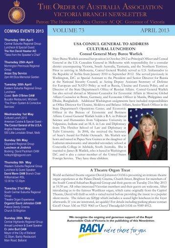 Vic Newsletter April 2013 - Order of Australia Association