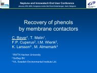 Recovery of phenols by membrane contactors - EU Project Neptune