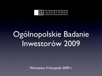 Ogólnopolskie Badanie Inwestorów 2009 - Bankier.pl