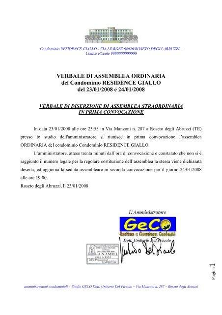 Verbale Di Assemblea Ordinaria Del Geco Abruzzo It