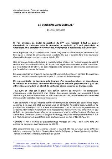Intégralité du rapport sur le deuxième avis médical - Conseil ...