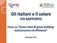 """VIII Rapporto: """"Gli Italiani e il solare"""" - Fondazione Univerde"""