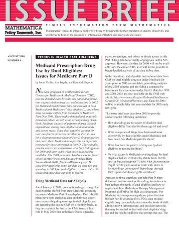 Medicaid Prescription Drug Use by Dual Eligibles - Mathematica ...