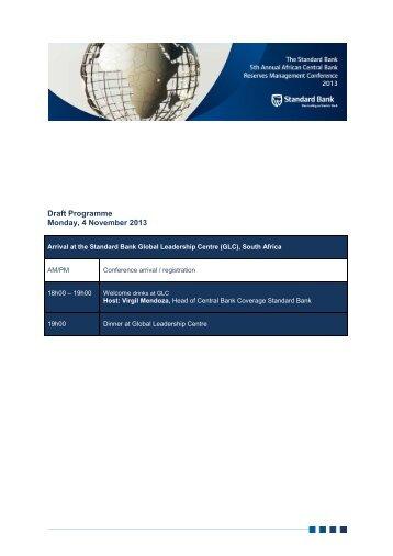 Draft Programme Monday, 4 November 2013 - Standard Bank ...